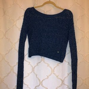 Blue cropped knit sweater